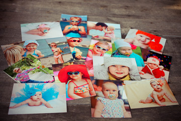 Photo album remembrance and nostalgia in summer journey trip on wood table.