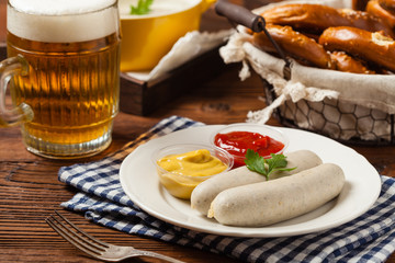 Boiled white sausage, served with beer and pretzels. Perfect for Octoberfest.