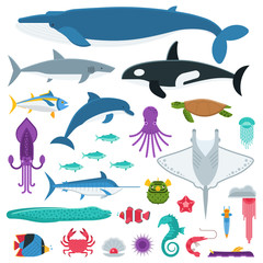 Underwater animals and sea creatures in cartoon style. Ocean and marine fishes and other aquatic life collection. Vector illustration of blue whale, devilfish, dolphin, orca, octopus, mollusks.