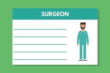 About doctor surgeon template. Medical professional notes. Vector illustration