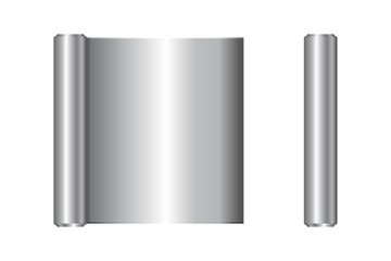Realistic roll of aluminium foil, icon. Vector illustration.