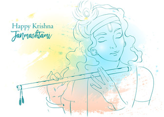Lord Krishna vector Illustration. Happy Janmashtami, annual Hindu festival greetings. Line art portrait