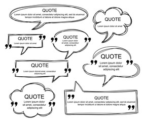 Vector set of scribbled comic speech bubbles