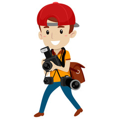 Vector Illustration of Photographer with Different Camera
