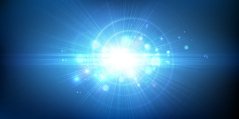 Light effect, glowing flare. Abstract blue background. Vector graphic design.