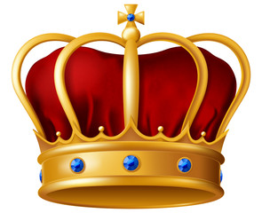 Golden imperial crown with red mitre encrusted with blue sapphire gems. Vector illustration.