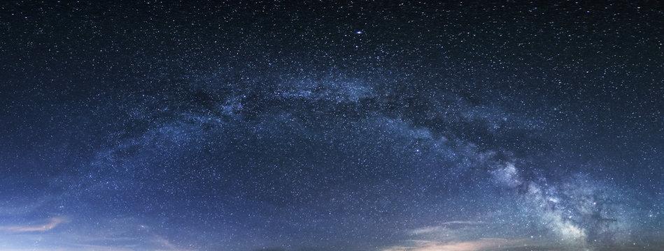 Milky way panorama, night sky with stars