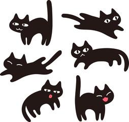 シンプルな黒猫のイラストセット
