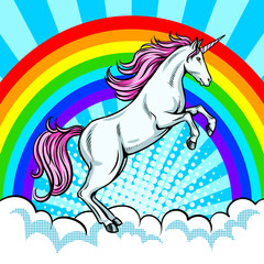 Printed roller blinds Pony Fairy animal unicorn and rainbow pop art vector