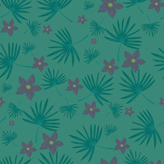 Seamless floral pattern. Background in small flowers and leaves on a green background for textiles, fabric, cotton fabric, covers, wallpaper, print, gift wrap, postcard.