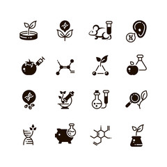 Genetic modification biotechnology and dna research vector micro icons