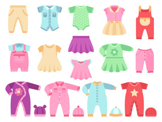 Colorful baby girl clothes vector set