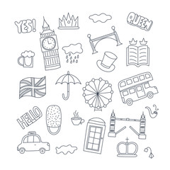 Hand drawn patch badges with United Kingdom symbols - bus crown cloud hat flag umbrella cup of tea, red telephone box Tower bridge Big Ben. Stickers, pins and patches in cartoon 80s-90s comic style