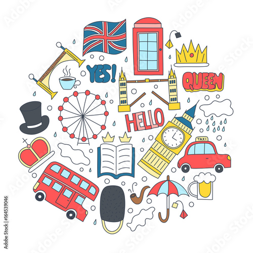 Hand Drawn Badges With United Kingdom Symbols Bus Crown Cloud Hat