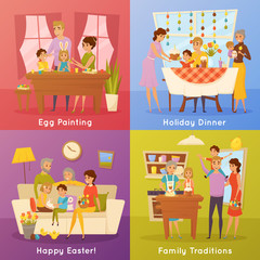 Family Easter Concept 4 Flat Icons