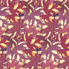 Maple leaves vector seamless pattern. Autumn background.
