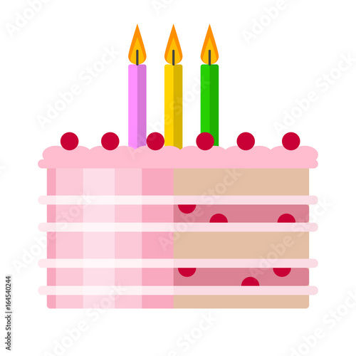 Birthday Cake Flat Icon Vector Sign Colorful Pictogram Isolated On