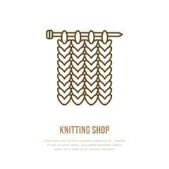 Knitting vector icon in modern flat line style. Elements - yarn, knit needle. Outline symbol for shops, clubs. Cute design element for sites. Hand made business logo.