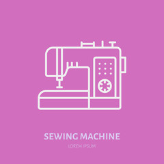 Sewing machine flat line icon, logo. Vector illustration of tailor supplies for hand made shop or dressmaking service.