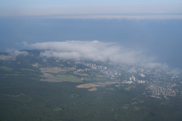 Sky, city, clouds, town, from a bird's-eye view