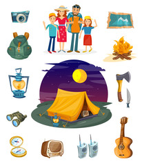 Camping collection. Camping family hiking and outdoor recreation vector. Tourism elements