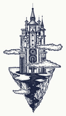 Medieval castle tattoo art. Ancient castle on the mountain. Symbol of the fairy tale, dream, magic. Medieval castle t-shirt design