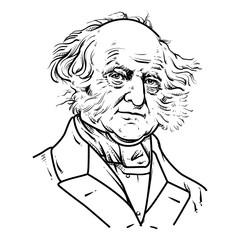 Martin Van Buren Vector illustration, Martin Van Buren Drawing outline, 8th U.S. President.