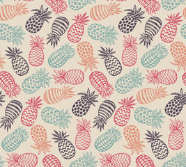 Vector seamless pattern with ornate pineapple fruits