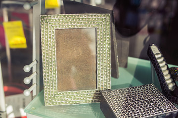 Photo frame with rhinestones in store angle