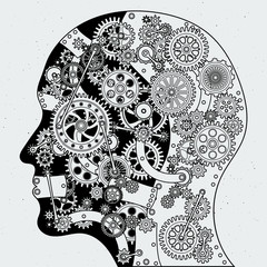 Human head with clock mechanism and different cogwheels. Vector hand drawn illustrations in steampunk style