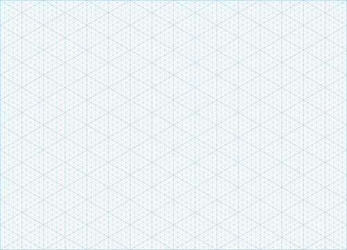 Blue vector isometric grid graph paper accented every 5 steps A4 landscape oriented background
