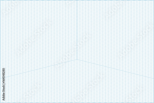 Vector Blue Wide Angle Isometric Grid Graph Paper Horizontal Background  With Axes