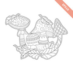 Cartoon mushrooms and leaf  with doodle ornament for coloring page