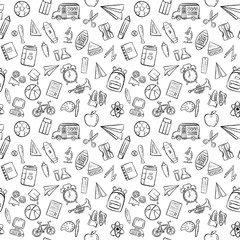 back to school seamless pattern background set