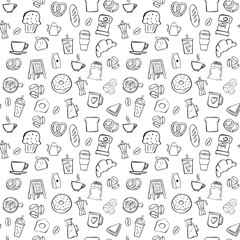 coffee shop seamless pattern background set