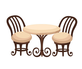 Round dinner table for two with white cloth and red wooden chairs. Flat style illustration. Web site page and mobile app design.