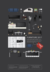 Poster Furniture Sale Vector Illustration
