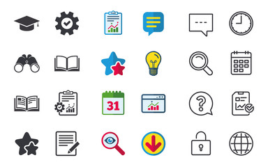 Pencil with document and open book icons. Graduation cap symbol. Higher education learn signs. Chat, Report and Calendar signs. Stars, Statistics and Download icons. Question, Clock and Globe. Vector