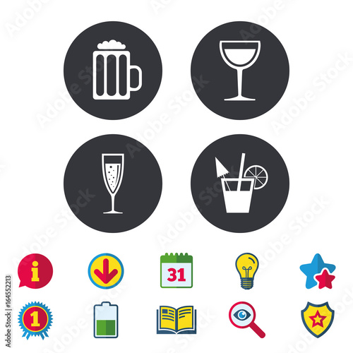 Alcoholic Drinks Icons Champagne Sparkling Wine With Bubbles And
