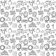 travel seamless pattern background set