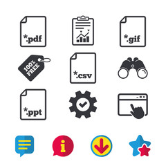 Download document icons. File extensions symbols. PDF, GIF, CSV and PPT presentation signs. Browser window, Report and Service signs. Binoculars, Information and Download icons. Stars and Chat. Vector