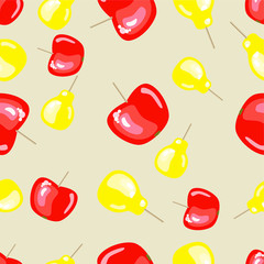 Vector seamless pattern with apples and pears