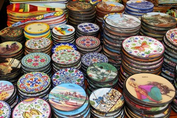 Pretty ceramic plates for sale at an old town shop, Torremolinos, Spain.