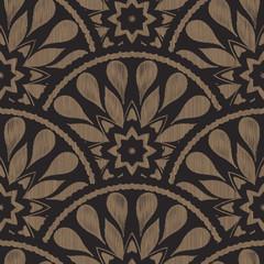 Wektorowy bezszwowy hafciarski etniczny wzór z rybiej skala układem. Brązowe czarne elementy w kształcie kropli z linii tekstura tło. - 164553884