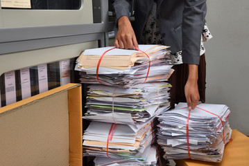 Stack of paper documents in the office use for reuse recycle
