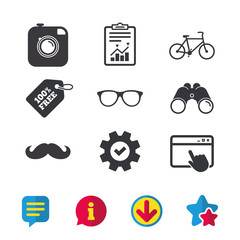 Hipster photo camera with mustache icon. Glasses symbol. Bicycle family vehicle sign. Browser window, Report and Service signs. Binoculars, Information and Download icons. Stars and Chat. Vector