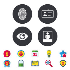 Identity ID card badge icons. Eye and fingerprint symbols. Authentication signs. Photo frame with human person. Calendar, Information and Download signs. Stars, Award and Book icons. Vector