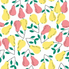 Summer seamless pattern with bright pears. Vector background.