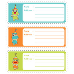 Cute address label with vector cartoon of cute baby hippos on colorful background suitable for kid address label and tag