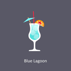 Blue Lagoon cocktail icon on dark background in flat style